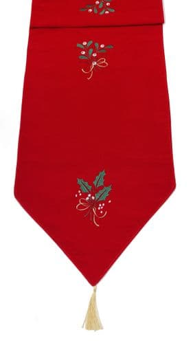 """Bertina Embroidered Table Runner 14""""x 75"""" - Red/Multicolour"""